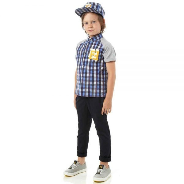 FENDI BOYS BLUE CHECKED 'FF' LOGO SHIRT