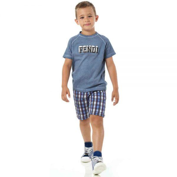 shop look FENDI Boys Blue Cotton Jersey Logo T-Shirt