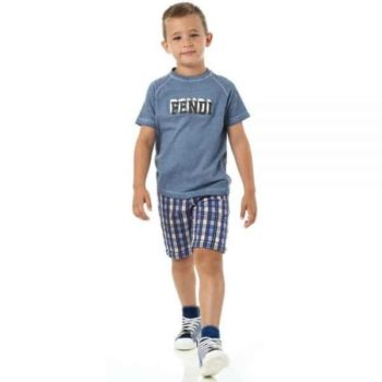 FENDI BOYS COTTON LOGO T-SHIRT LIGHT BLUE