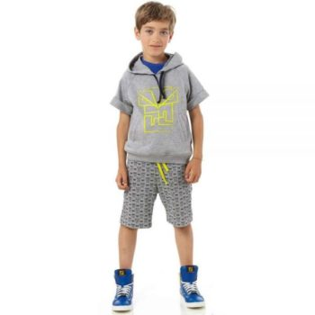 FENDI BABY BOYS GREY JERSEY 'FF MONSTER' SHORTS