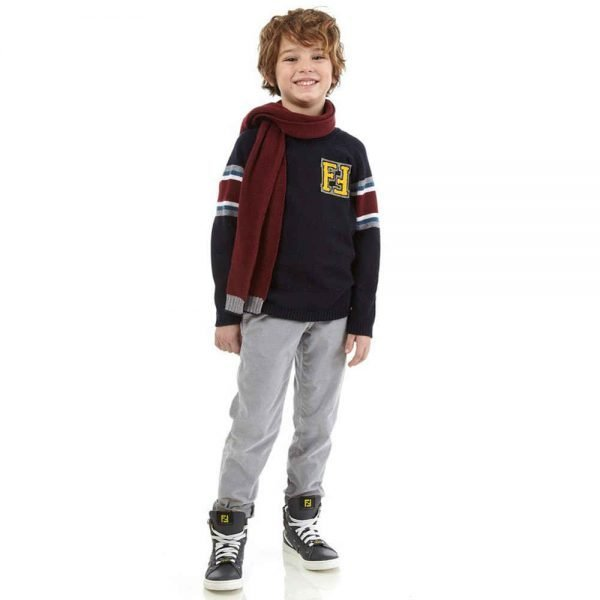 FENDI BOYS NAVY BLUE KNITTED 'FF' SWEATER