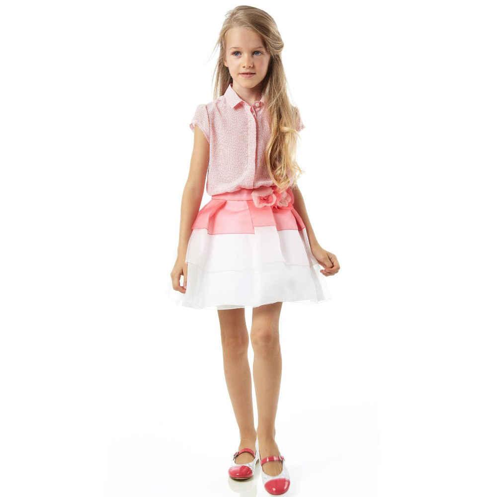 shop look FENDI Girls Pink Silk 'FF' Logo Blouse