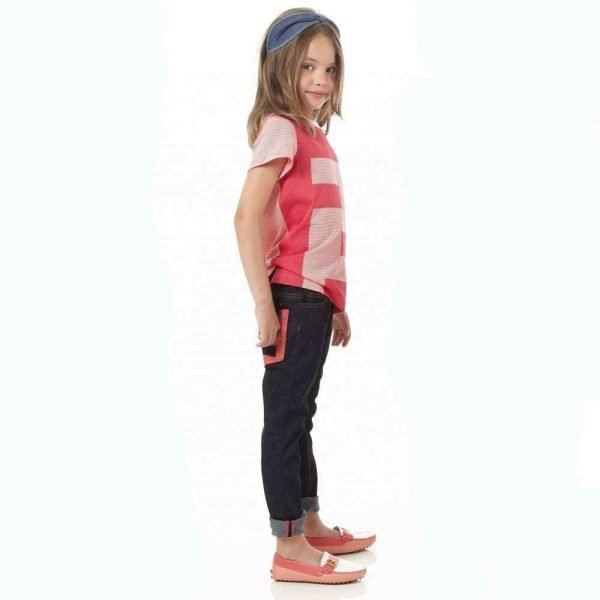 FENDI GIRLS PINK STRIPED 'FF' LOGO T-SHIRT