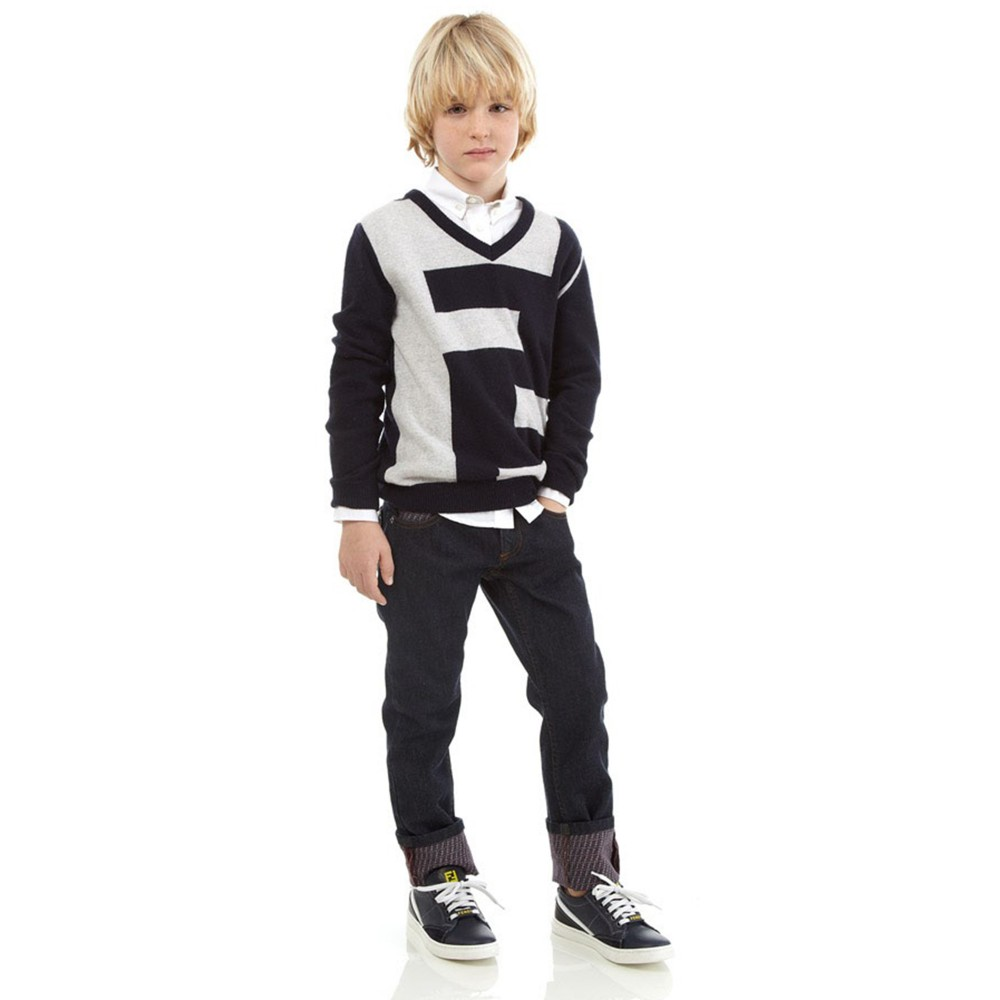 shop look FENDI Navy Blue Knitted 'FF' Logo Sweater