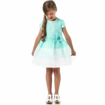 FENDI TURQUOISE PINK & BLUE SILK ORGANZA DRESS