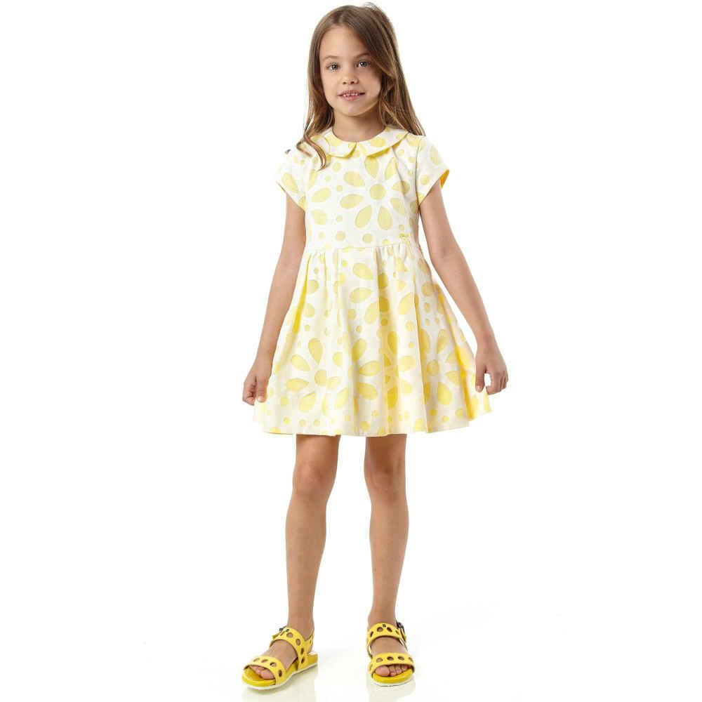 shop look FENDI Yellow Cotton & Lace Floral Dress