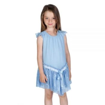 FUN & FUN BLUE DRESS WITH STAR NET HEM