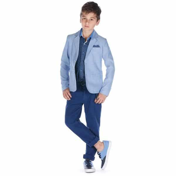 FUN & FUN BOYS BLUE CHAMBRAY BLAZER JACKET
