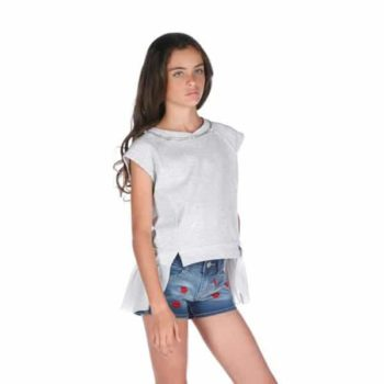 FUN & FUN GIRLS BLUE DENIM SHORTS WITH EMBROIDERED KISSES