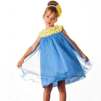 GRACI BLUE TULLE DRESS WITH FLORAL TRIM