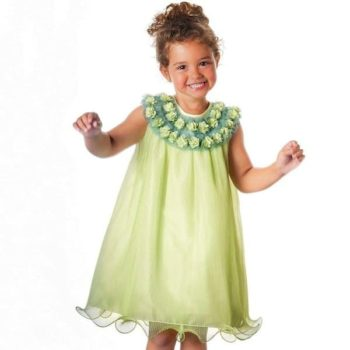 GRACI PALE GREEN TULLE DRESS WITH FLORAL TRIM
