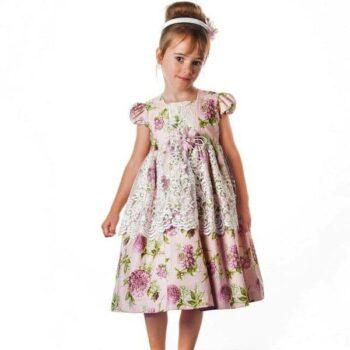 GRACI PINK COTTON FLORAL & LACE DRESS