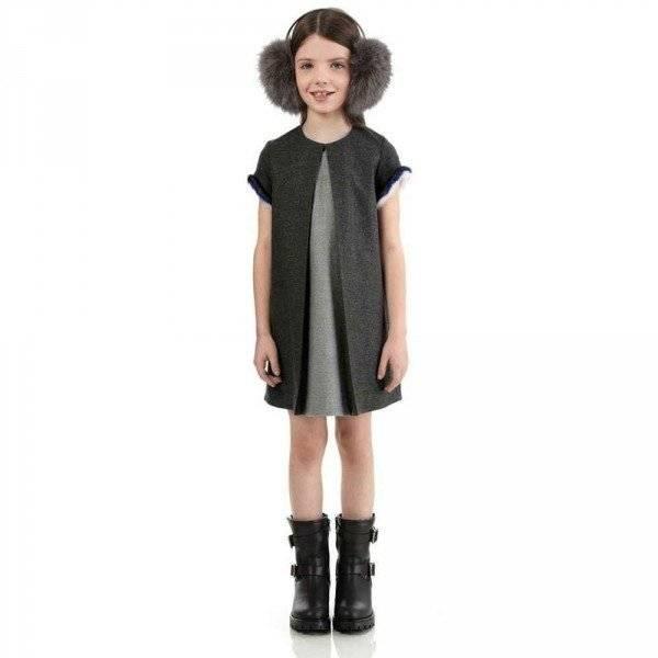 FENDI GIRLS GREY SHIFT DRESS WITH FUR TRIM