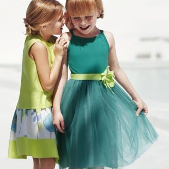 IL GUFO JADE GREEN DRESS WITH TULLE SKIRT