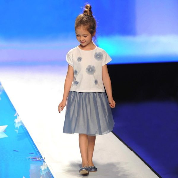 IL GUFO WHITE T-SHIRT WITH BLUE FLORAL TULLE