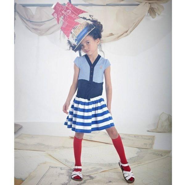 Jessie & James Navy Blue Stripe Jersey 'Spiral' Dress