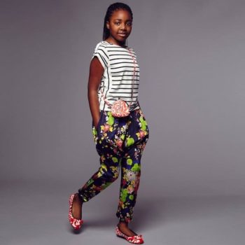 Junior Gaultier Girls Blue Floral Harem Trousers