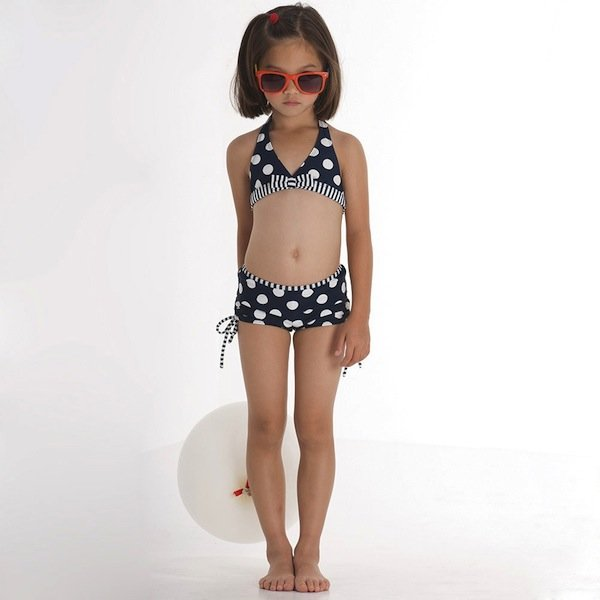 KATE MACK GIRLS NAVY BLUE SPOTTED BIKINI