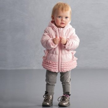 KATE MACK GIRLS PINK HOODED PUFFER COAT