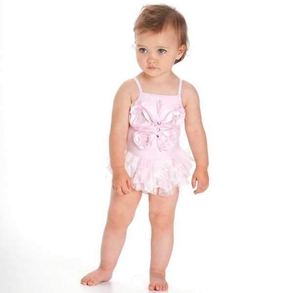 KATE MACK PINK BUTTERFLY SWIMSUIT WITH SEQUINS & JEWELS