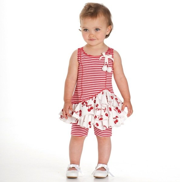 KATE MACK RED STRIPE & CHERRY DRESS WITH LEGGINGS