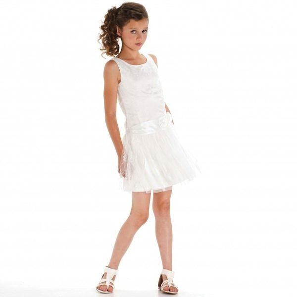 KATE MACK WHITE LACE DRESS WITH TULLE SKIRT