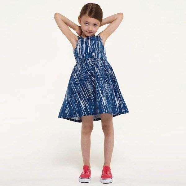 KENZO BLUE WAVE PRINT RUFFLES DRESS