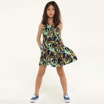 KENZO GIRLS RIPPED FLOWERS PRINT DRESS