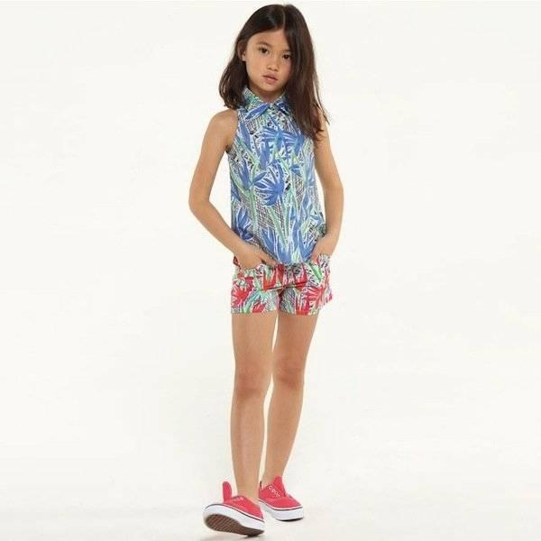 shop look KENZO Girls Blue 'Cubic Flower' Print Blouse