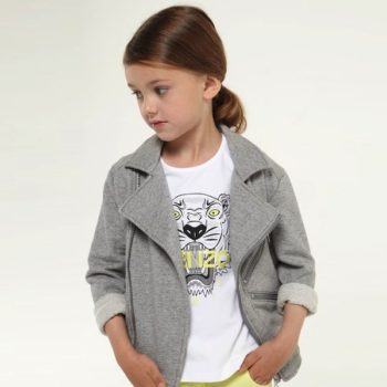 KENZO GIRLS ZIP 'K' JACKET GREY