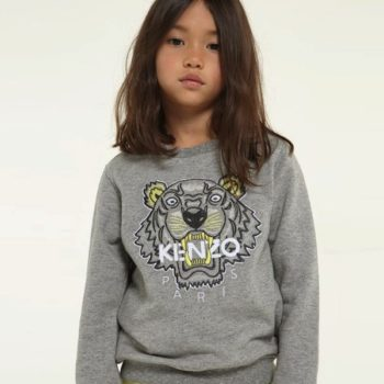 KENZO KIDS EMBROIDERED PEARL PALE GREY TIGER SWEATSHIRT