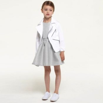KENZO GIRLS SILVER JACQUARD DRESS