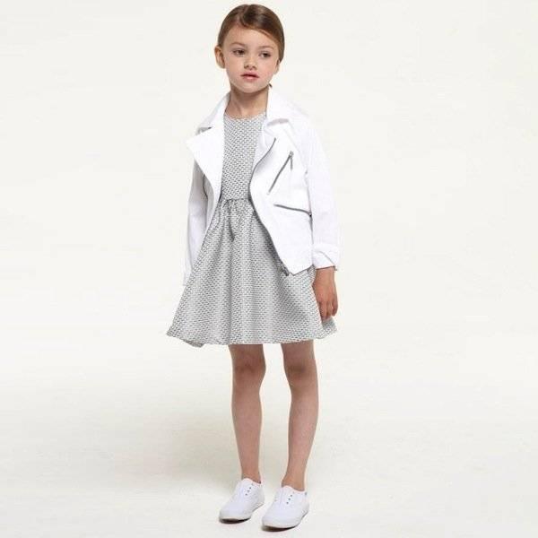 KENZO GIRLS SILVER JACQUARD DRESS