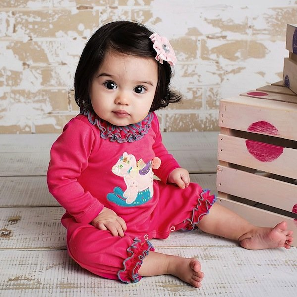 LEMON LOVES LIME BABY GIRLS PINK PIMA COTTON 'TEDDY' ROMPER