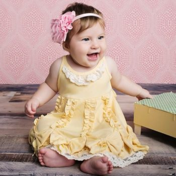 LEMON LOVES LIME PALE YELLOW 'DANCING BOWS' RUFFLED DRESS