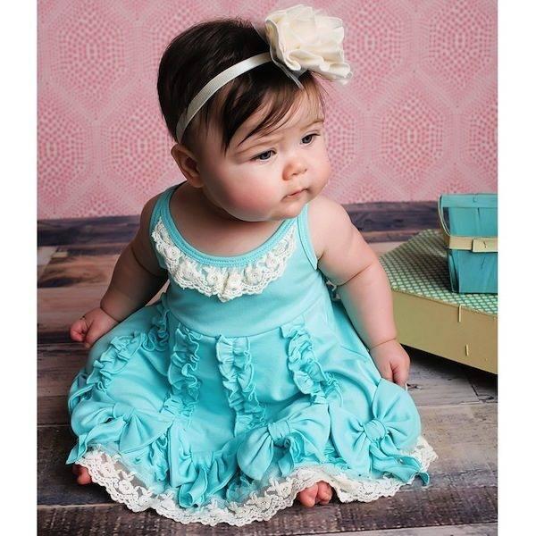 LEMON LOVES LIME TURQUOISE BLUE PIMA COTTON RUFFLE DRESS