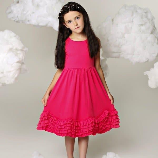 LEMON LOVES LIME BRIGHT PINK PIMA COTTON RUFFLE DRESS