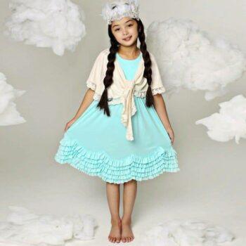 LEMON LOVES LIME TURQUOISE BLUE 'DANCING BOWS' RUFFLED DRESS