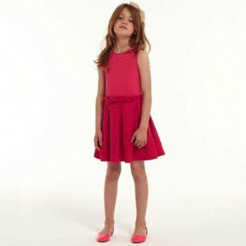LILI GAUFRETTE GIRLS PINK BRODERIE ANGLAISE DRESS