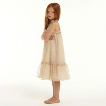 LILI GAUFRETTE GOLD METALLIC TULLE DRESS