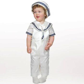 LITTLE DARLINGS BABY BOYS IVORY SILK 'DUKE' SAILOR SUIT & HAT
