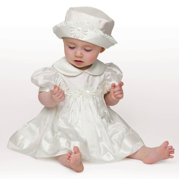 LITTLE DARLINGS BABY GIRLS IVORY SILK 'DAISY' 3 PIECE OUTFIT