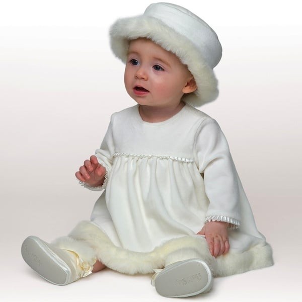 LITTLE DARLINGS IVORY VELOUR 'FELICITY' BABY DRESS WITH HAT