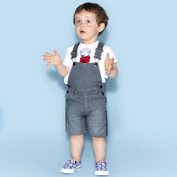 LITTLE MARC JACOBS BABY BOYS BLUE STRIPED DENIM DUNGAREE SHORTS