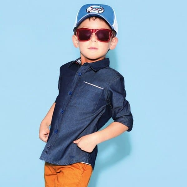shop look LITTLE MARC JACOBS Boys Blue Chambray Cotton Shirt