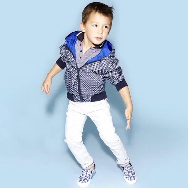 shop look LITTLE MARC JACOBS Boys Blue Reversible Showerproof Jacket in Blue