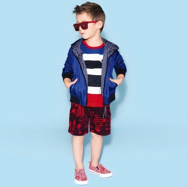 shop look LITTLE MARC JACOBS Boys Blue Reversible Showerproof Jacket