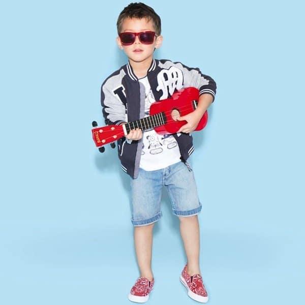 shop look LITTLE MARC JACOBS Boys Cotton Jersey Lightweight Varsity Jacket