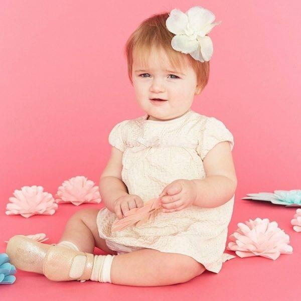 MARIE-CHANTAL BABY GIRLS PALE PEACH TAFFETA DRESS
