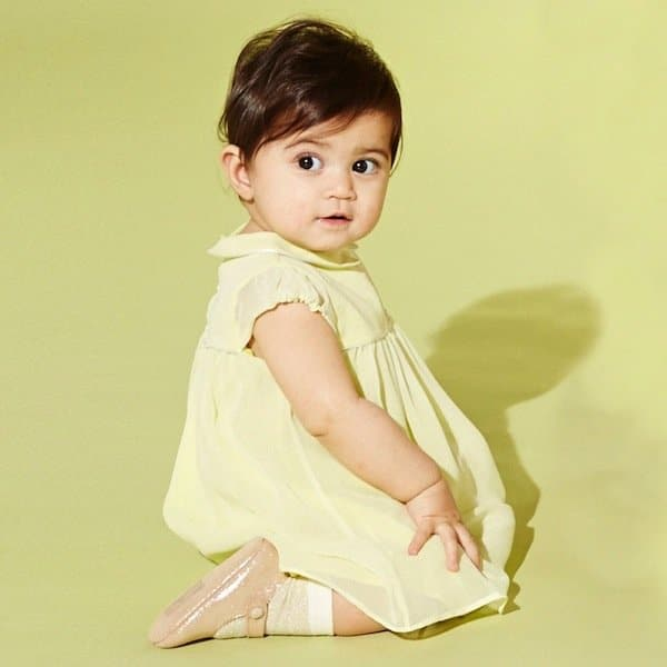 MARIE-CHANTAL BABY GIRLS YELLOW SILK DRESS